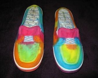 Tie dye shoes - Women's flats size 9M - rainbow blue green pink yellow orange