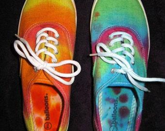 Tie dye shoes - Women's sneaker size 7 - rainbow canvas lace up