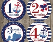 Monthly Baby Milestone Stickers Baby Boy Whale Anchor Nautical Navy Blue Red Bodysuit Baby Stickers Monthly Baby Stickers Baby Month Sticker