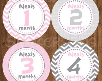 Personalized Monthly Baby Milestone Stickers Custom Name Baby Girl Pink Grey Gray Chevron Dots Bodysuit Baby Stickers Baby Month Stickers