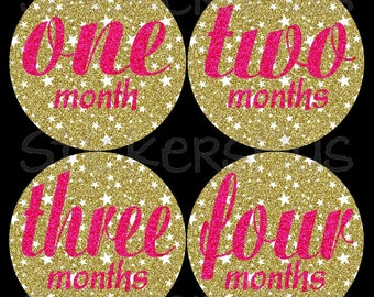 Monthly Baby Stickers Baby Girl Month Stickers Milestone Stickers Monthly Photo Stickers Bodysuit Sparkle Star Gold Pink Glitter Script Font