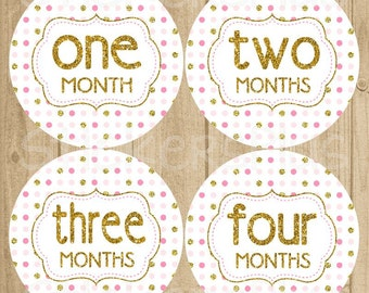 Monthly Baby Milestone Stickers Baby Girl Gold Glitter Pink Dots Nursery PRECUT Baby Growth Stickers Baby Month Sticker Baby Age Stickers