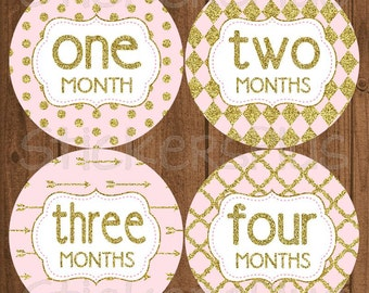 Monthly Baby Girl Stickers Baby Month Stickers Pink Gold Glitter Dots Arrow Diamond PRECUT Bodysuit Baby Stickers Baby Age Stickers Gift