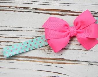 Hot Pink Bow Headband - Newborn Bow Headband - Pink and Aqua Bow Headband