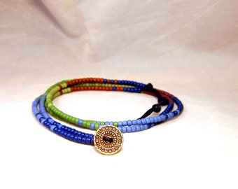 Seed Bead Bracelet Minimalist Beaded Leather Wrap Bracelet Quad Potters Rainbow 2 Boho Wrap Bracelet Min6
