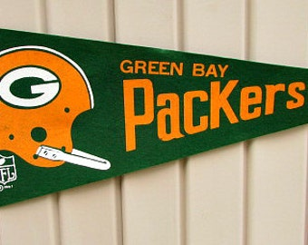 vintage 60s green bay packers felt pennant 1967 nfl logo  free shipping