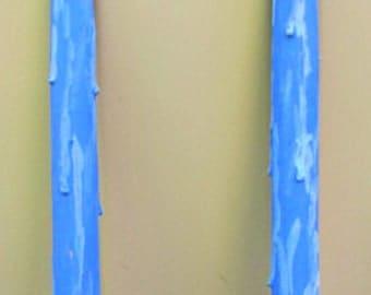 """vintage 50s wood taper candles 12"""" drip look blue 2"""