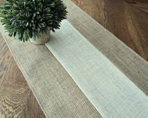 Natural and Ivory Burlap Table Runner Modern Rustic Home Decor Custom Sizes Available Rustic Elegant Style Decorating