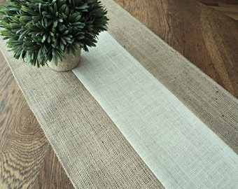 Natural and Ivory Burlap Table Runner Holiday Table Runner Modern Rustic Decor Custom Sizes Available Rustic Elegant Style Decorating