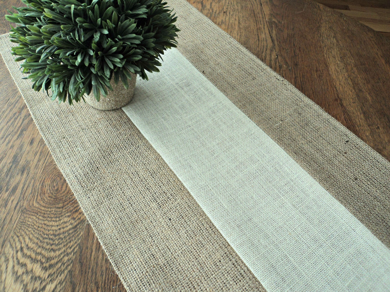 Natural and Ivory Burlap Table Runner Holiday Table Runner