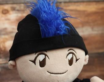Blue Mohawk Hat Personalized Punk Rocker Baby Beanie