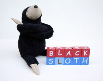 Small Plush Black Sloth, stuffed animal toy for children, cuddly jungle stuffie, sleeping fellow
