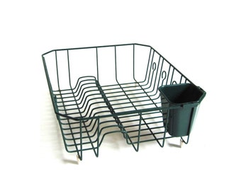 Rubbermaid Dish Drying Rack Wire Metal Hunter Green 1990s Kitchen (needs cleaning)