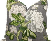 Bermuda Blossoms Pillow cover, Mary McDonald Schumacher Slate Decorative Pillow Covers 18x18, 20x20 or 22x22, Eurosham or lumbar pillow