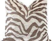 Taupe and Ivory Velvet Tiger Pillow Cover 18x18, 20x20, 22x22, Eurosham or  Lumbar pillow cover, throw pillow, accent cushion, toss pillow