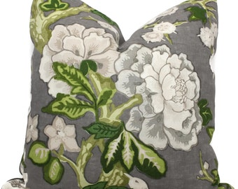 Bermuda Blossoms Pillow cover, Mary McDonald Schumacher Slate Decorative Pillow Covers 18x18, 20x20 or 22x22, Eurosham or lumbar pillow
