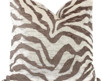 Taupe and Ivory Velvet Tiger Pillow Cover 18x18, 20x20, 22x22, Eurosham or  Lumbar pillow cover, throw pillow, accent cushion, toss pillow
