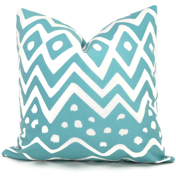 Queen Throw Pillows : Quadrille Suncloth Turquoise Deauville Outdoor Pillow Cover