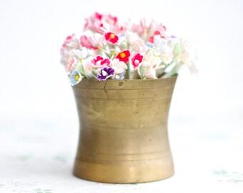Antique Brass Pot - Little Patina Planter Vase - Pencil Pot