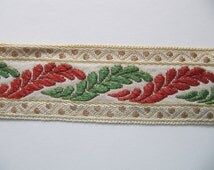 """French passementerie trim, 2 yds + 10""""  vintage cream gold red green woven ribbon, millinery trims Made in France, for home decor, costuming"""