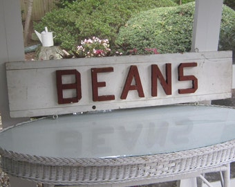 "Vintage Wooden Farm Stand Sign   ""BEANS"""