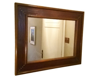 Basic rectangular mirror in leather