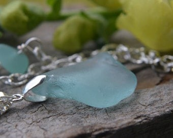 Blue Sea Glass Jewelry, Puerto Rico Sea Glass Pendant, Sterling Bail Necklace, Beach Glass Necklace on Long Silver Chain, Nautical Jewelry