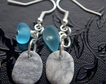 Alaska Beach Stone Pendant and Earrings Set with Blue Frosty Beads, White Sea Glass with carved Heart Charms, Handmade Alaskan Gift Set