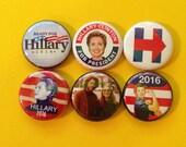 "6 Brand New 1"" ""Hillary Clinton"" Buttons"
