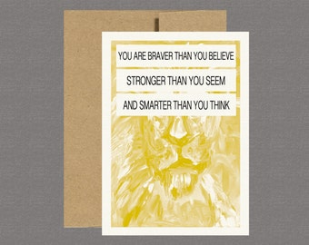 You Are Braver Than You Believe - Encouragement Card, Military Greeting Card, Care Package, Deployment, Boot Camp