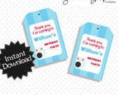 Editable Bowling Party Favor Tags - Instant Download PDF Template - Bowling Birthday Party, Editable Text .. bp03