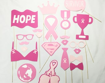 Breast Cancer Awareness Photo Booth Props set 22 pcs