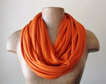 Burnt Orange Infinity Scarf - Handmade Pumpkin Circle Scarf - Jersey Womens Scarf, Loop Scarf