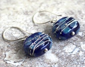 Recycled Glass Bead Earrings. Handmade Recycled Glass Beads from a Skyy Vodka Bottle.