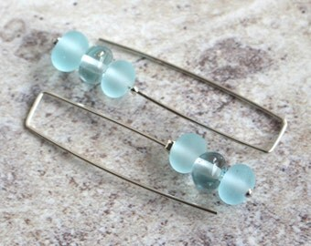 Long Recycled Glass Bead Earrings. Handmade Recycled Glass Beads from a Wine Bottle.