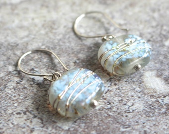 Recycled Glass Bead Earrings. Handmade Recycled Glass Beads from a Clear Beer Bottle.