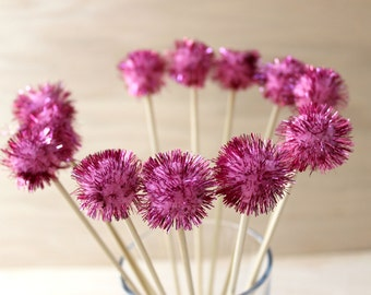 12 Pink Pom Pom Drink Stirrers, Party Decor, Tinsel Drink Topper, Wedding