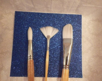 Grumbacher Bristlette Paintbrushes- #4 Fan, #10 Round, #14 Filbert