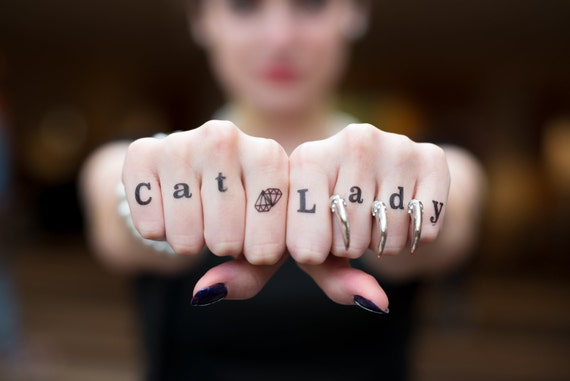 Crazy Cat Lady Temporary Tattoo Black Cat Knuckle Tattoo