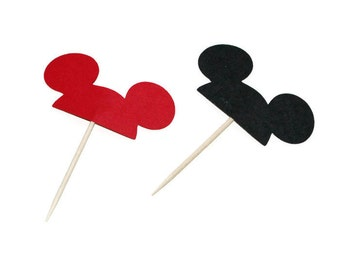 Mickey Mouse ears cupcake toppers or party picks - choose your quantity & colors