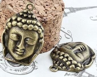 "4pcs-1.25"" Buddha charm-Antique brass  metal charm pendant-ALZ 2400"