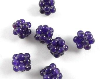 6pcs Hand woven deep purple Amethyst gemstone beads(12mm)-for jewelry maker