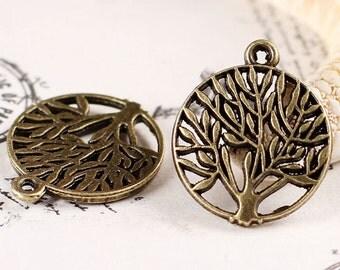 "2pcs-1.75"" Brass tree charm pendant--1 loop Antique brass metal Charm pendant beads-ALZ 1268"