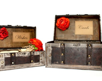 Wedding Card Box / Wishes Box / Wedding Card Holder / Rustic Wedding Trunk / Wooden Wishes Hearts / Wedding Decorations / Rustic Boxes