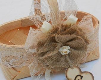 Flower Girl Basket / Rustic Flower Girl Basket / Wedding Flower Girl Basket / Rustic Wedding Basket / Burlap Flower Girl Basket / Wedding