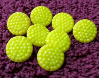 "4 Glass buttons, bright yellow, hobnail designed flat top, self shank sew through. Vintage, 0.45"" ins across. . CLAM15.3-4.9-8."
