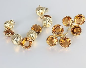 Topaz Rhinestone Bracelet Earrings set, Open Back Amber crystal, Vintage jewelry
