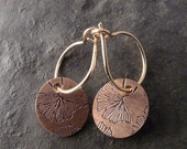 Boho Mini Copper Earrings ~ Gingko Leaf