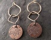 Boho Mini Copper Earrings ~ Double ~ Maple Leaf