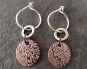 Boho Mini Copper Earrings ~ Double ~ Fern Leaf